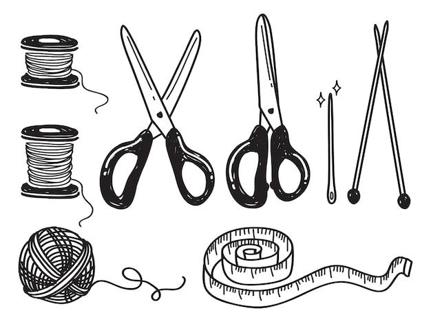 Set of sewing kit doodle
