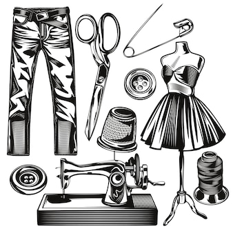 Set of sewing studio elements