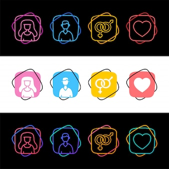 Set of sex avatar man and woman simple colorful icon in three styles. male famale and love heart