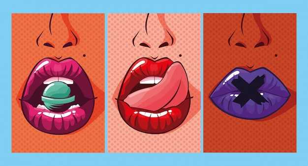 Set of sexy woman mouths pop art style