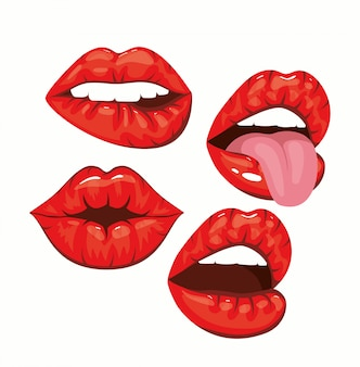 Set of sexy woman mouths in pop art style