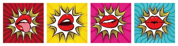 Set of sexy woman mouths with splash in pop art style