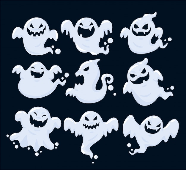 Set of the shadow of many ghosts floating on halloween.
