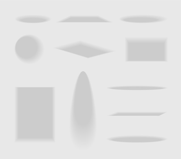 Set of shadows of different shapes with blurry edges and gradient