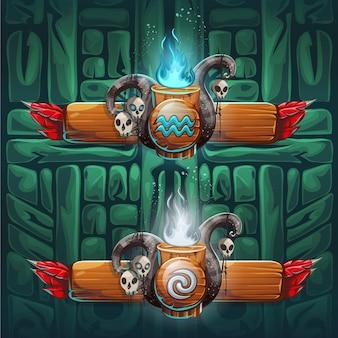 세트 샤먼 부스터-네 가지 요소의 상징. 클랜, 부족, 만화 스타일의 캐릭터.