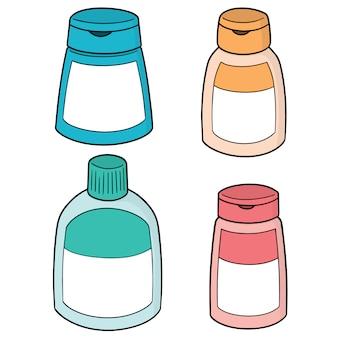 Set of shampoo and liquid soap bottle