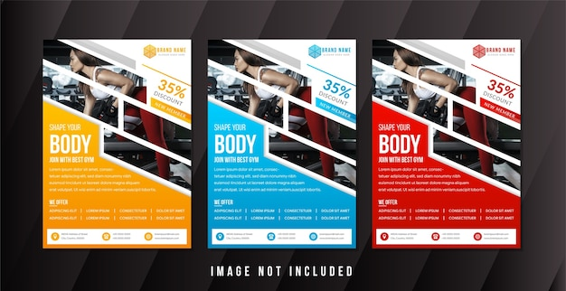 Set of shape your body vertical layout flyer design template. diagonal shape for photo collage. orange, red and blue gradient colors choice