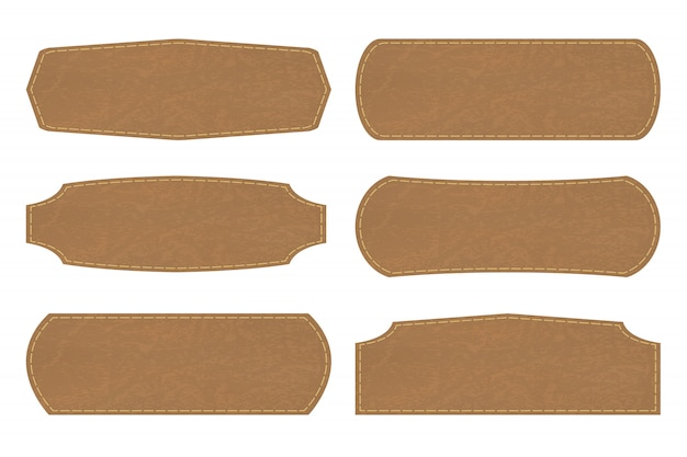 Set shapes of leather sign labels or leather  tag