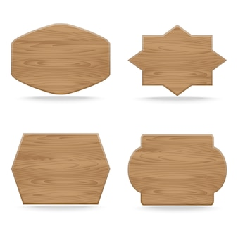 Set of shapes wooden sign boards. vector illustration
