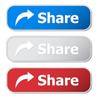 Set of share button with metal frame and shadow