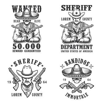 Set di sceriffo e bandito emblemi, etichette, distintivi, loghi e mascotte. stile monocromatico.