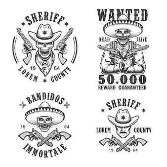 Set of sheriff and bandit emblems, labels, badges, logos and mascots. monochrome style.