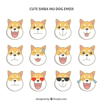 Set of shiba inu dog emoticons