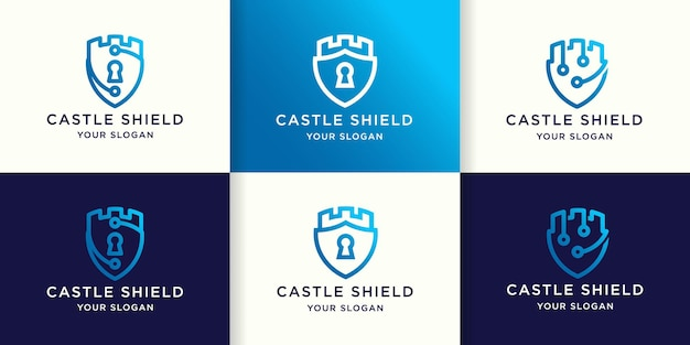 Set of shield castle logo design and business card
