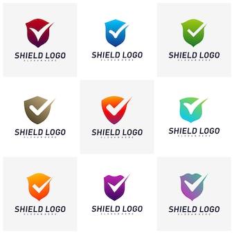 Set of shield check logo design concept vector. shield quality vector illustration design.