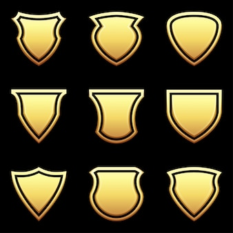 Set of shield icon on black
