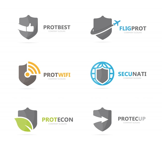 Set of shield logo combination. security and protect logotype design template.