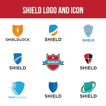 Set shield logo and icon vector design template
