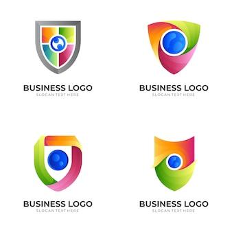カラフルなデザインイラスト、モダンなスタイルでシールドのロゴを設定します