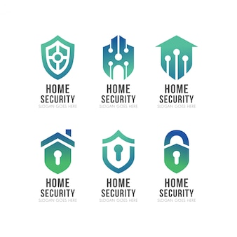 Set of shield smart home security logo