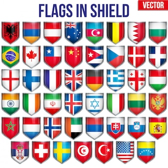 Set of shield with flags