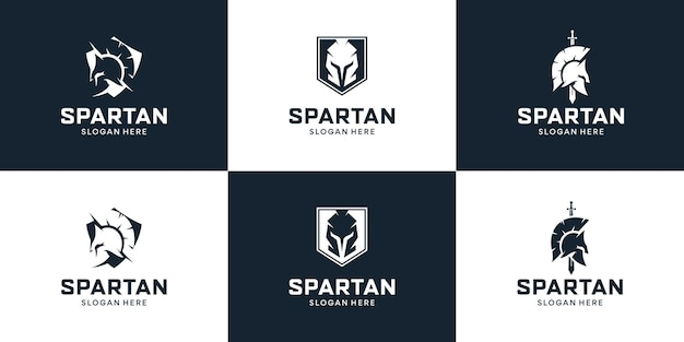 Set of shield with sparta logo design inspiration