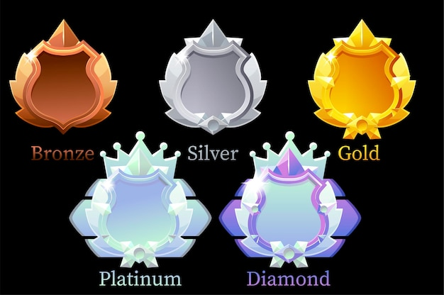 Set of shields for achievements in games.