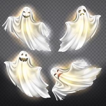 Set of shining ghosts - happy, sad or angry, smiling white phantom silhouettes