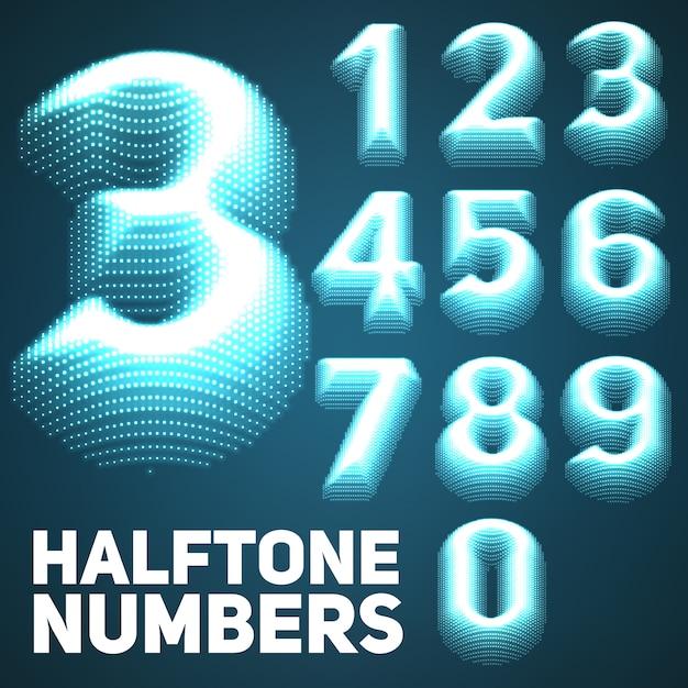 Set of shining halftone embossed numbers.