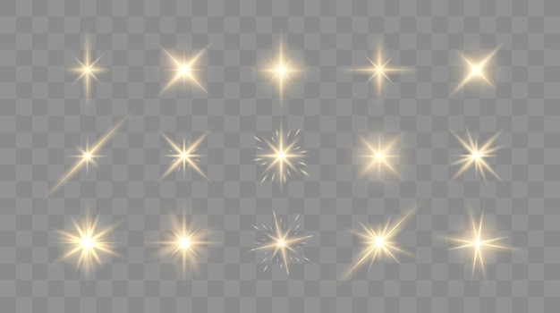 Set of shining sparkles and lens flares glowing lights isolated on transparent background vector ill...