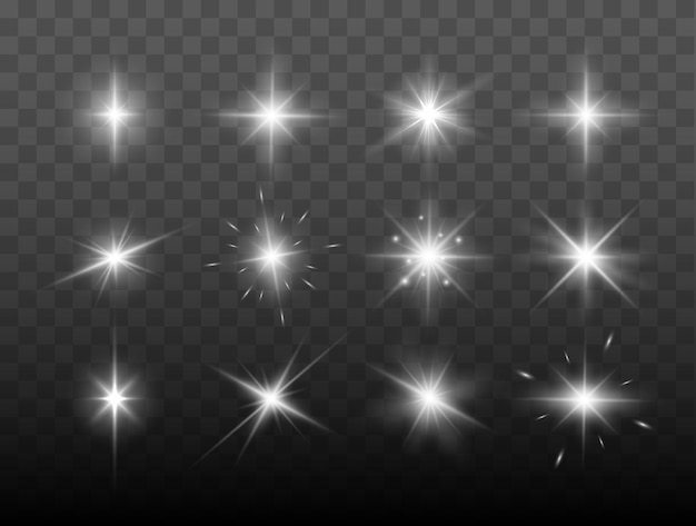 Set of shining sparkles and lens flares glowing lights isolated on transparent background