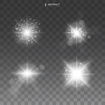 Set. shining star, the sun particles and sparks with a highlight effect, color bokeh lights glitter and sequins