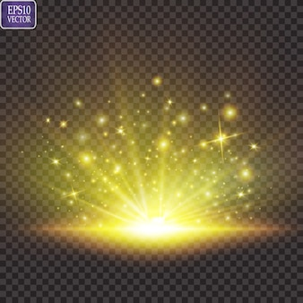 Set. shining star, the sun particles and sparks with a highlight effect, golden bokeh lights glitter and sequins. on a dark background transparent.