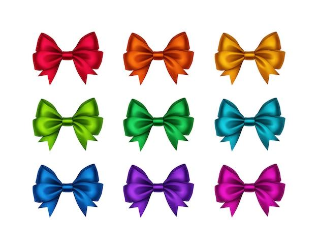 Set of shiny gift bows isolated on white