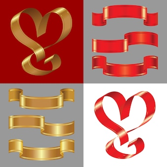Set of shiny gold and red ribbons