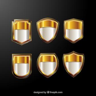 Set di scudi d'oro lucido