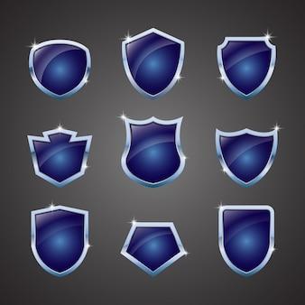 Set of shiny shield logo