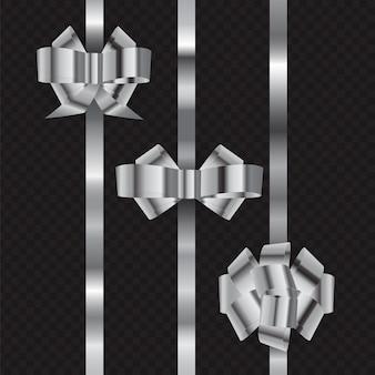 Set  shiny silver ribbon bow isolated on dark chekered background.