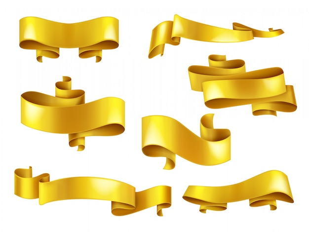 Set of shiny yellow or golden bend ribbons