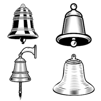 Set of ship bell illustrations on white background.  element for logo, label, emblem, sign.  image