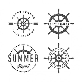 Set of ship steering wheel and summer logo