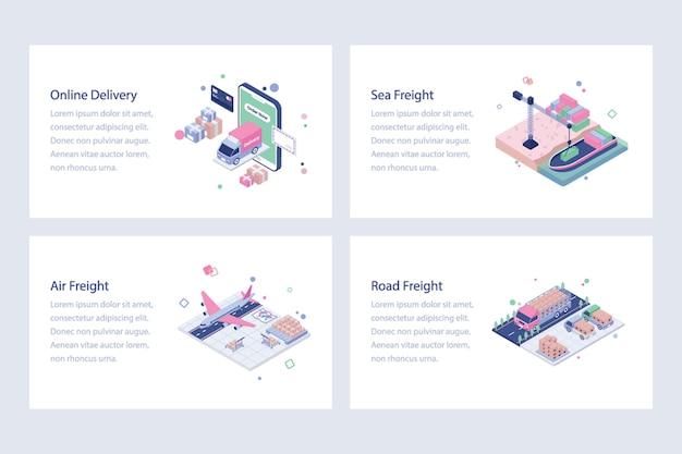 Set of shipping isometric illustrations
