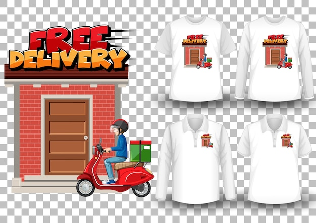 Set of shirts with delivery theme