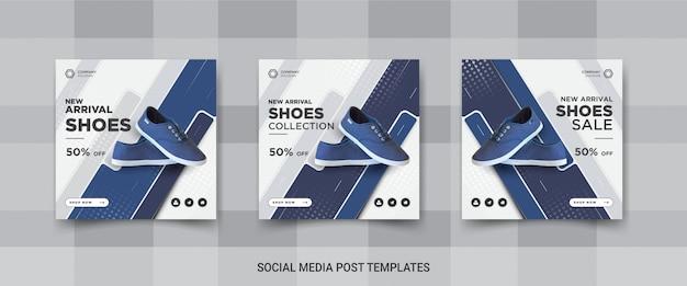 Set of shoes social media post templates design