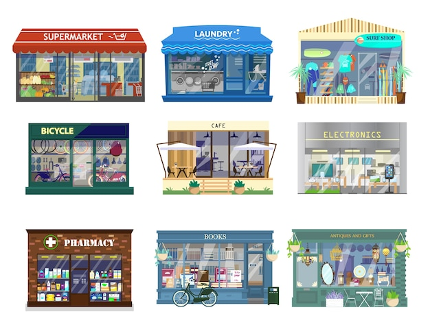 Set of shop buildings. supermarket, laundry, surf shop, bikes, cafe, electronics, pharmacy, books, antiques and gifts. store showcase.  illustration.