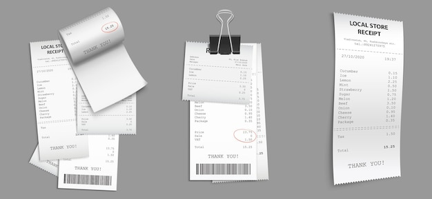 Set of shop receipts with barcode