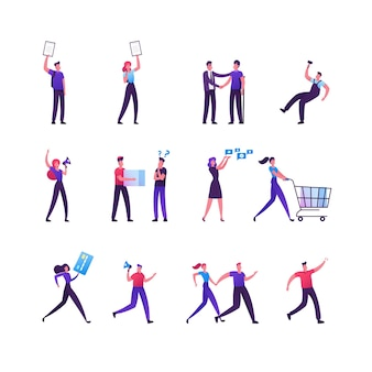 Set of shoppers characters