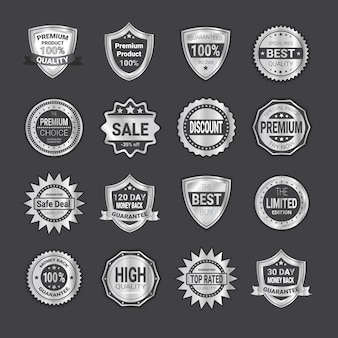 Set of shopping badge sale or high quality shields emblem seals