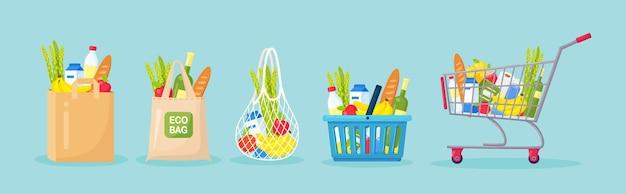 Set of shopping bags, basket, cart, trolley.
