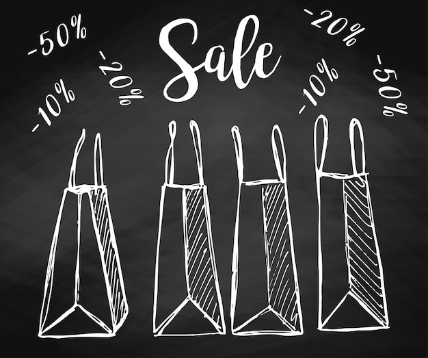 Set of shopping bags on the chalkboard. vector illustration of a sketch style. inscription sale.